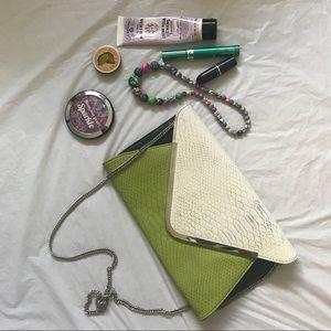Handbags - Beautiful green and white croc texture clutch